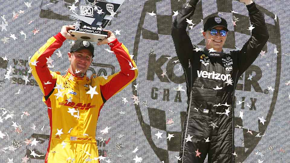Ryan Hunter-Reay and Josef Newgarden on top of the podium