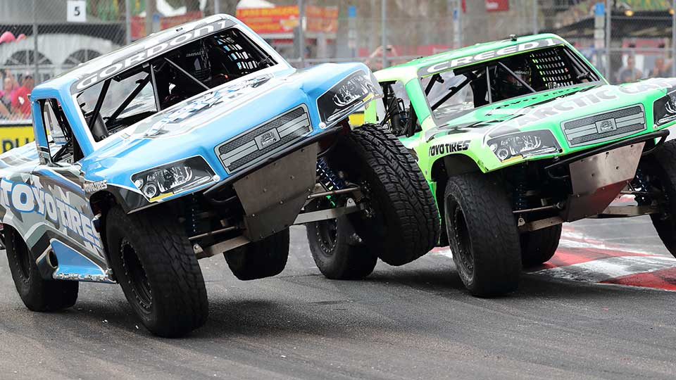 Stadium Super Trucks racing on track
